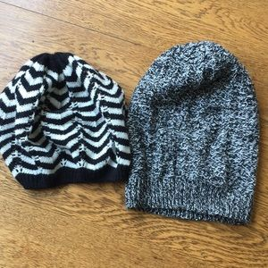 Two beanie hats.  Black and white